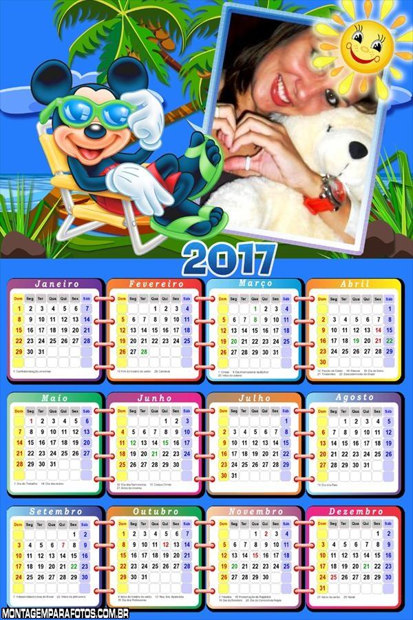 Calendário 2017 Desenho Férias do Mickey