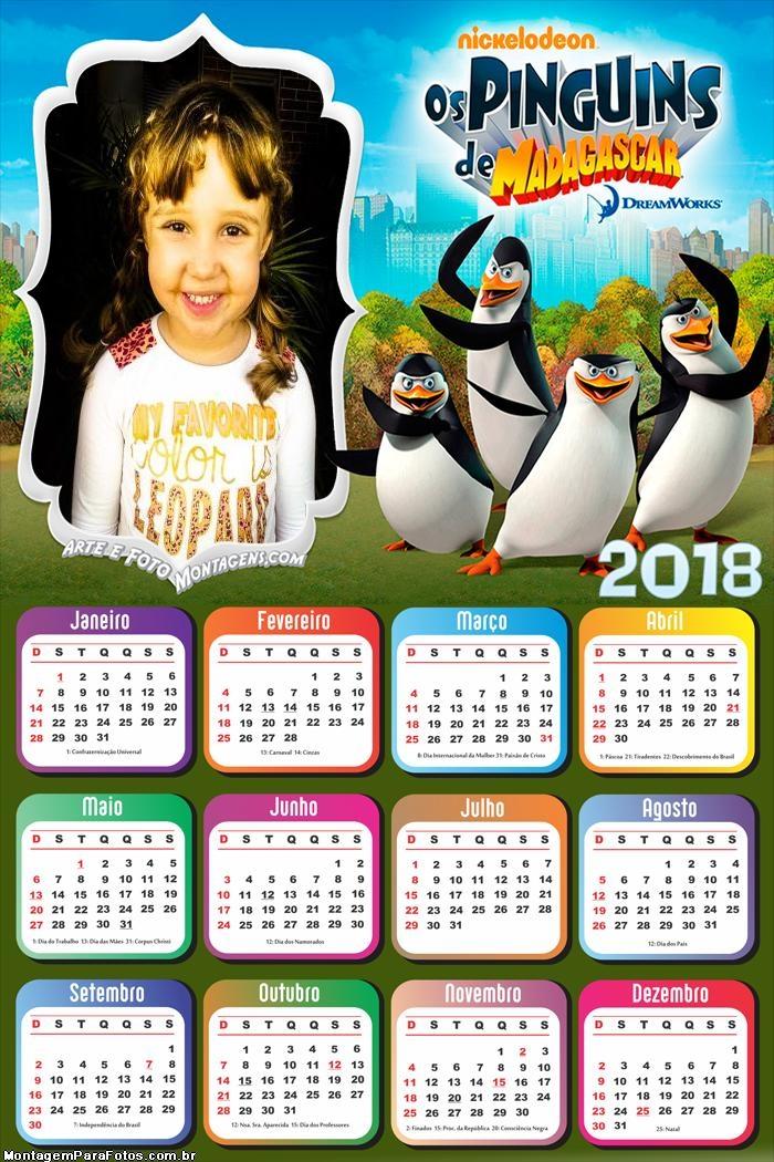 Calendário 2018 Pinguins de Madagascar
