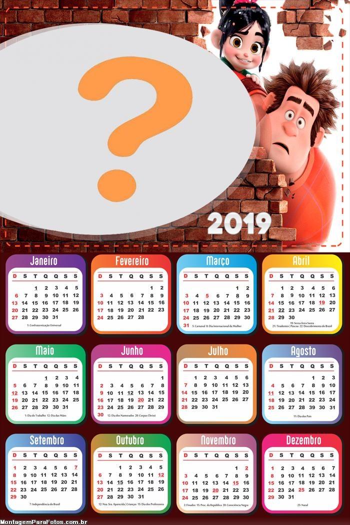 Calendário 2019 Detona Ralph