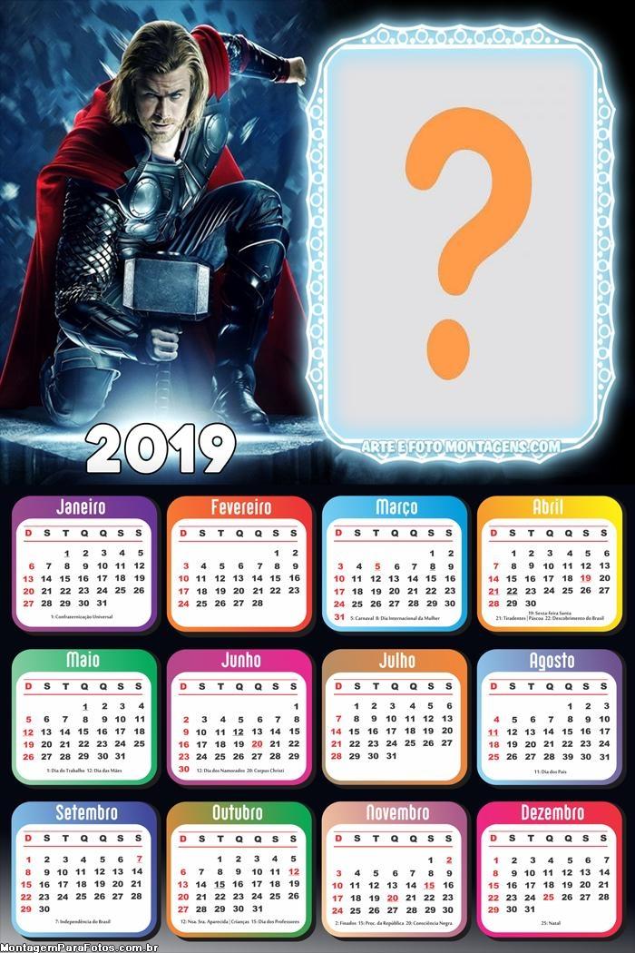 Calendário 2019 do Thor