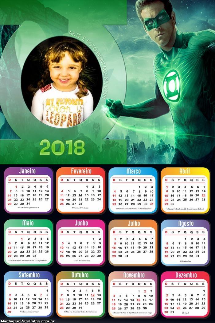 Calendário 2018 do Lanterna Verde Super Héroi