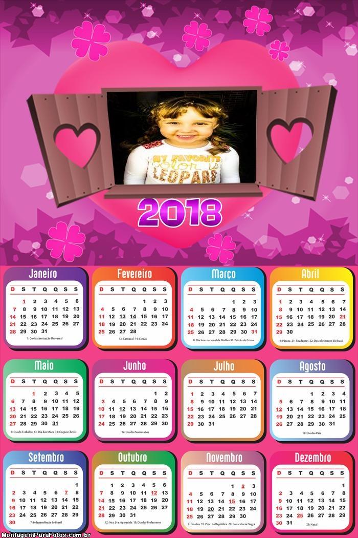 Calendário 2018 Janela no Amor