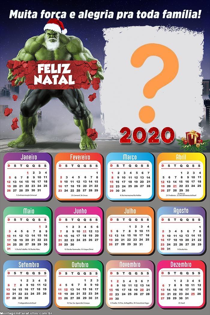 Calendário 2020 Hulk Papai Noel