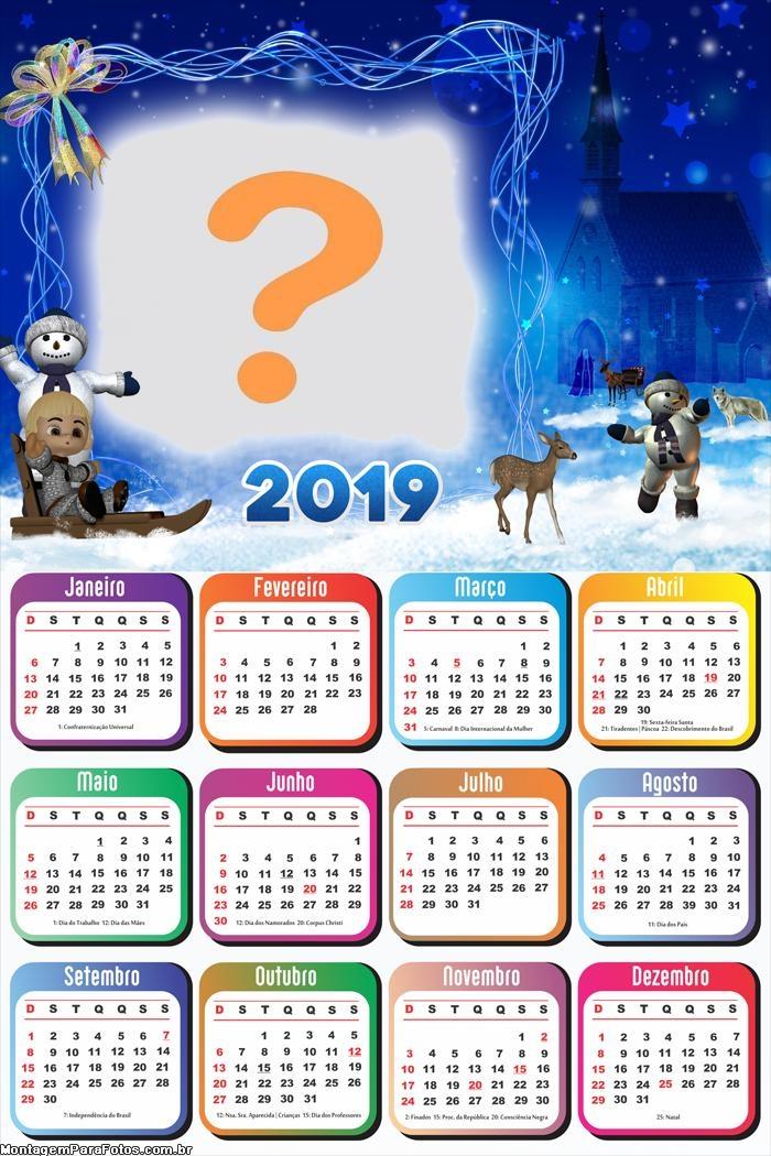 Calendário 2019 Brincando com Boneco de Neve