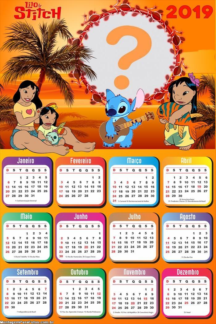 Calendário 2019 Lilo e Stitch