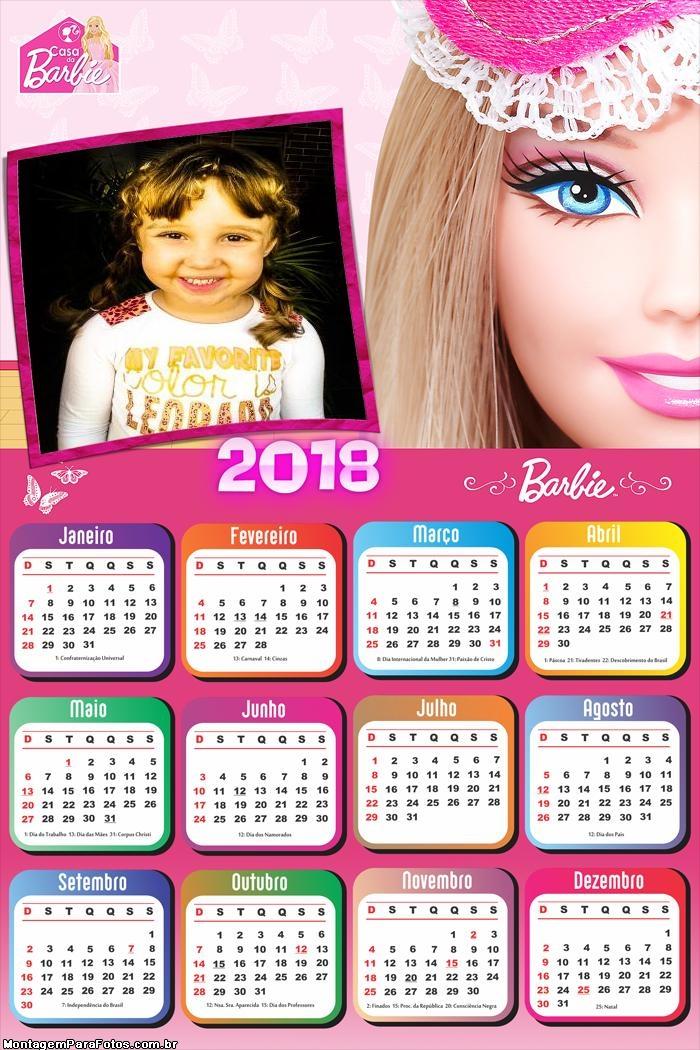 Calendário 2018 da Barbie