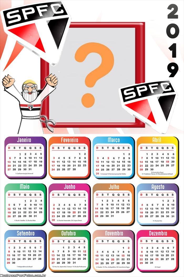 Calendário 2019 SPFC
