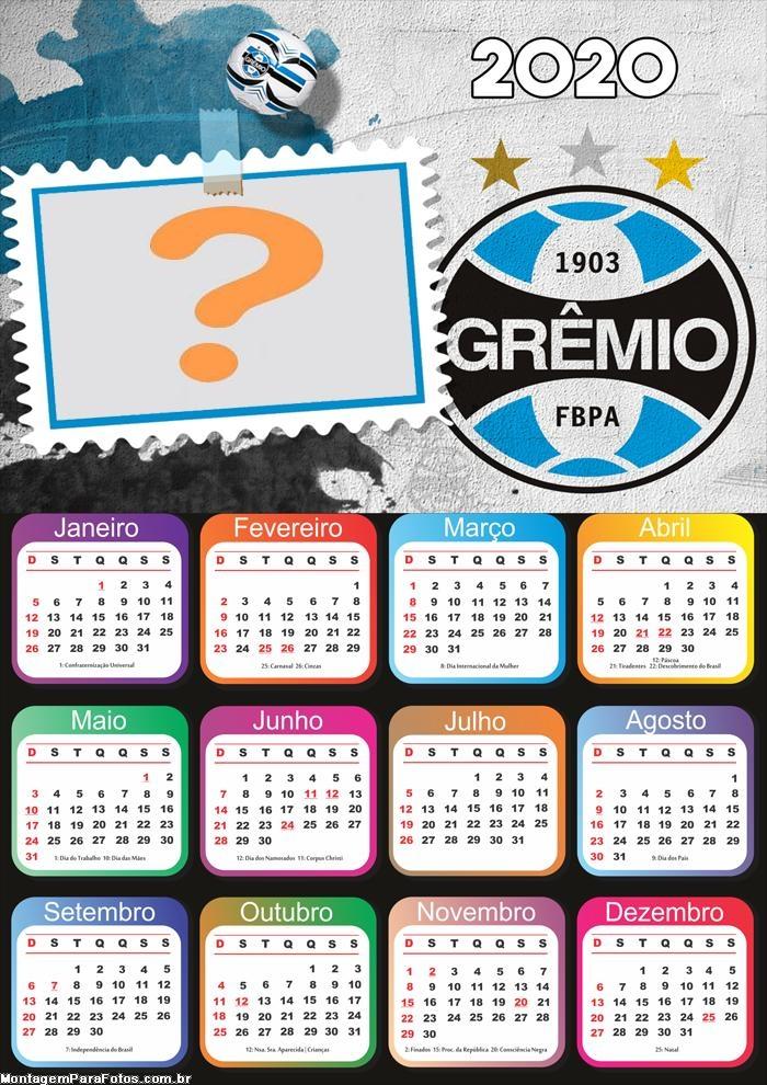 Calendário 2020 do Grêmio Foto Montagem