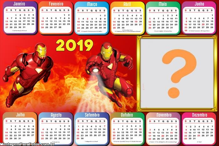 Calendário 2019 Horizontal Iron Man