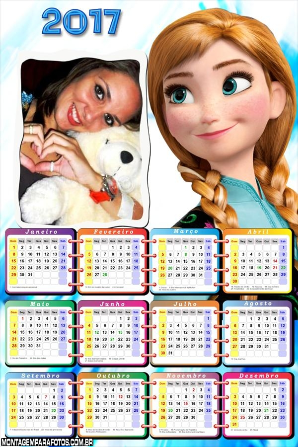 Calendário 2017 Anna Irmã Elsa Frozen