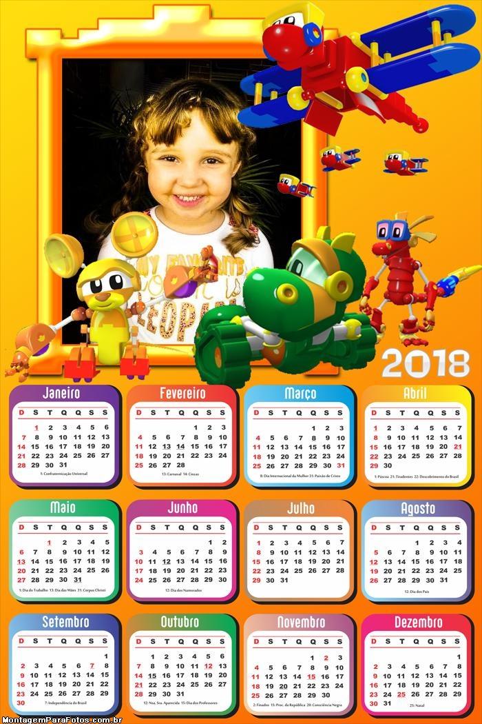 Calendário 2018 dos Mecanimais