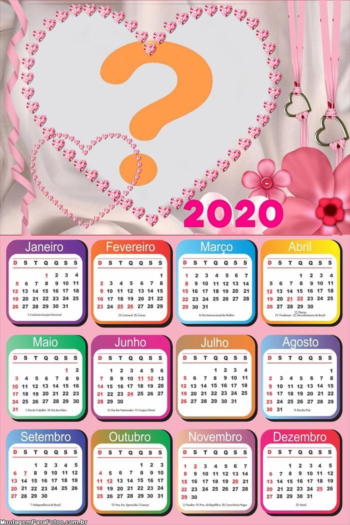 Calendário 2020 Montagem de Foto de Amor