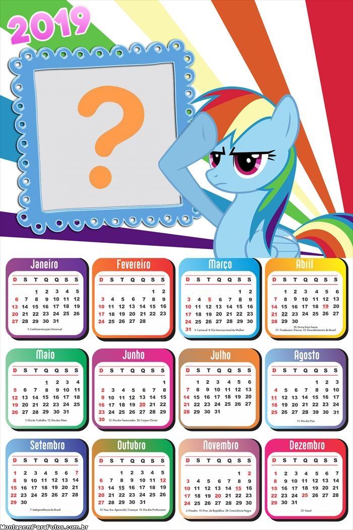 Calendário 2019 My Little Pony Arco Íris