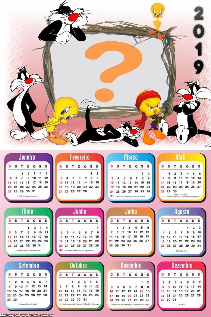 Calendário 2019 do Piu Piu e Frajola