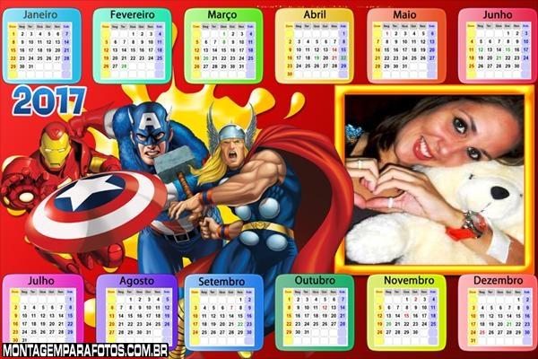 Calendário 2017 Marvel Hérois Horizontal