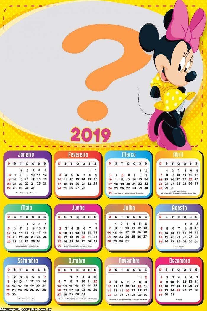 Calendário 2019 Minnie de Amarelo