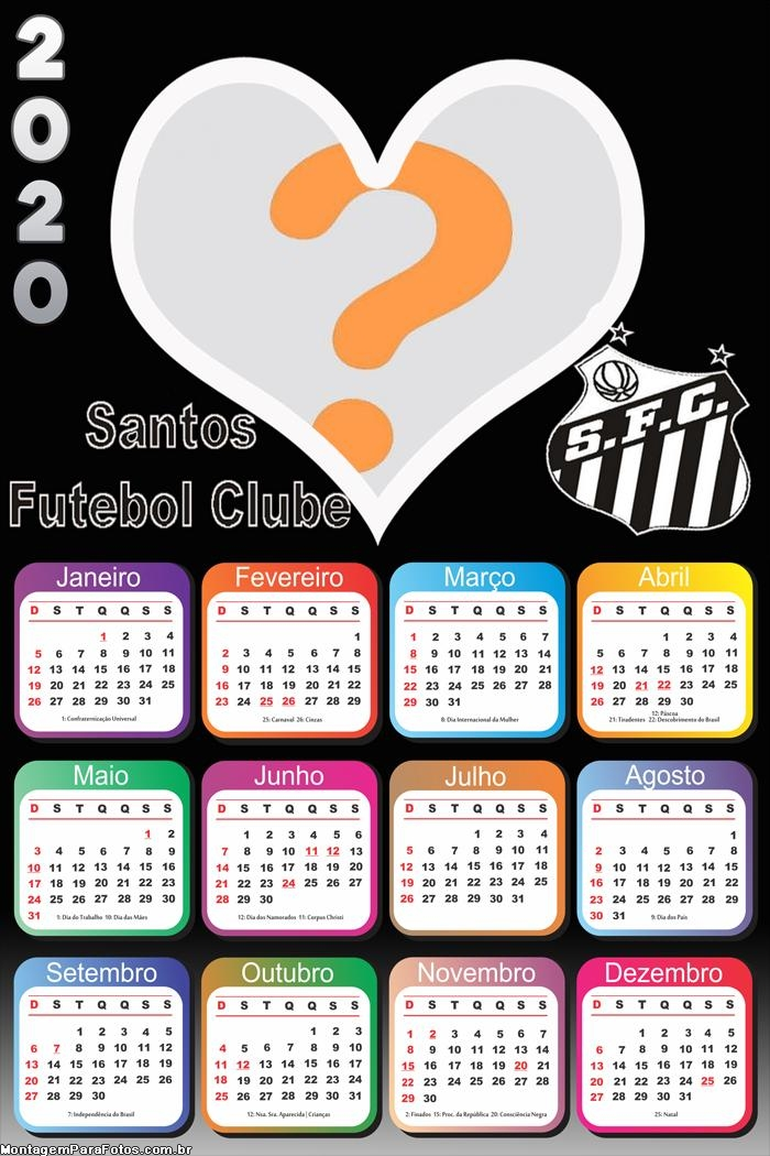 Calendário 2020 Santos Futebol Clube Moldura