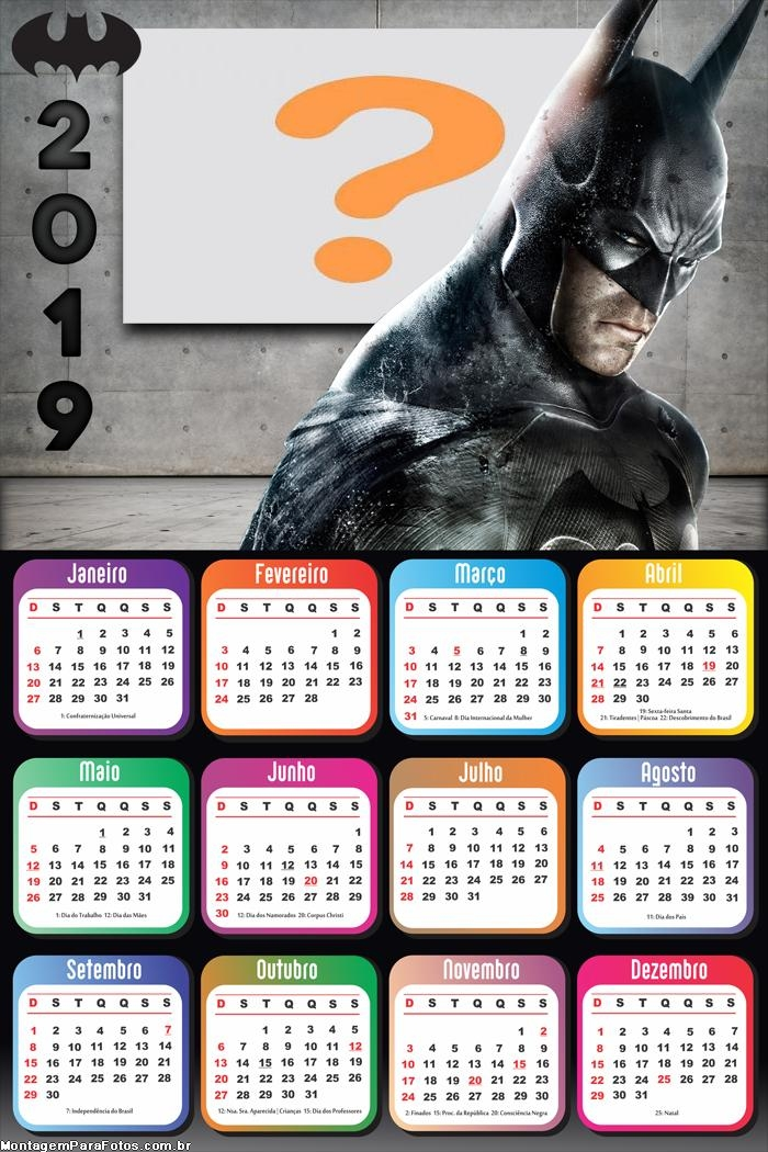 Calendário 2019 do Batman Dark
