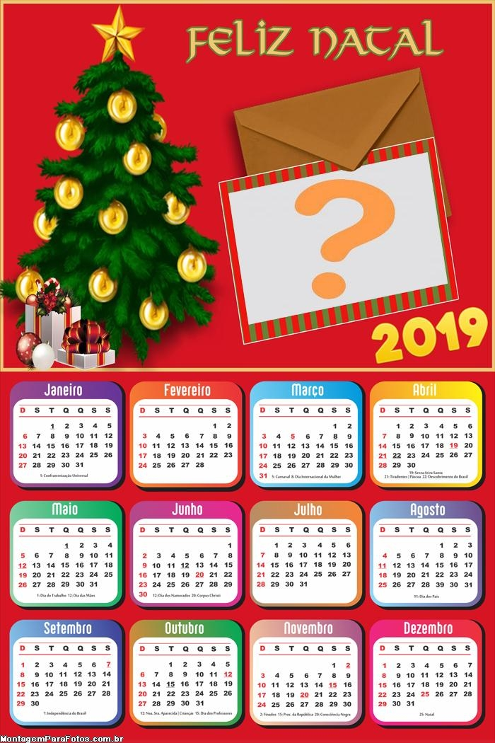 Calendário 2019 Cartão de Natal