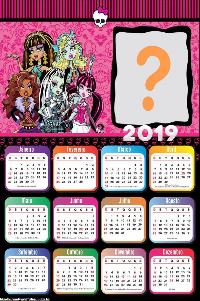 Calendário 2019 Monster High