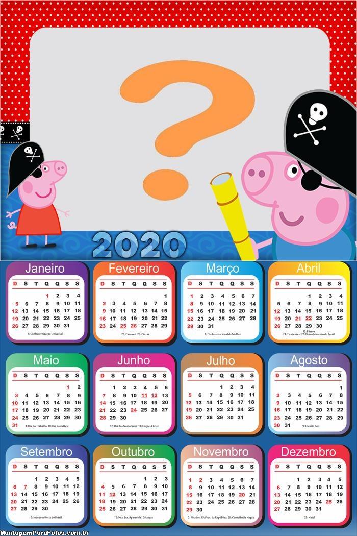 Calendário 2020 George Pirata Emoldurar