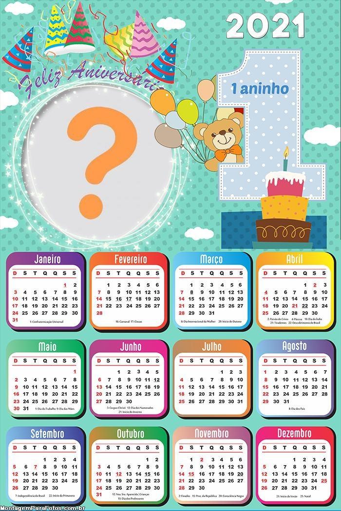 Calendário 2021 Primeiro Aniversário 1 Ano