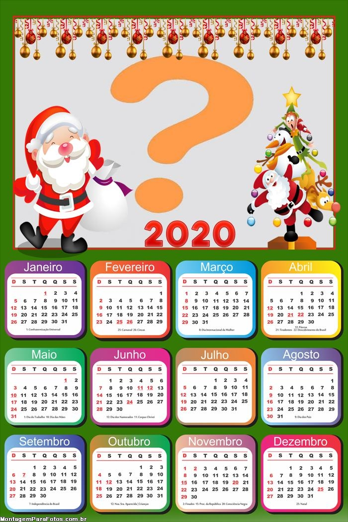 Calendário 2020 Papai Noel Montar Foto Online