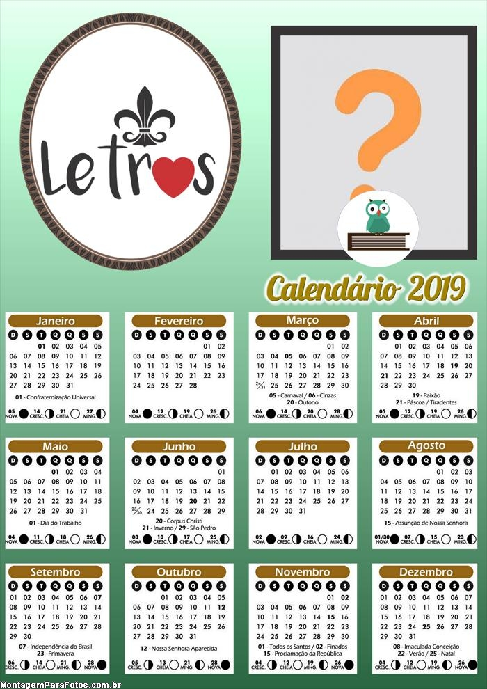 Calendário Letras 2019