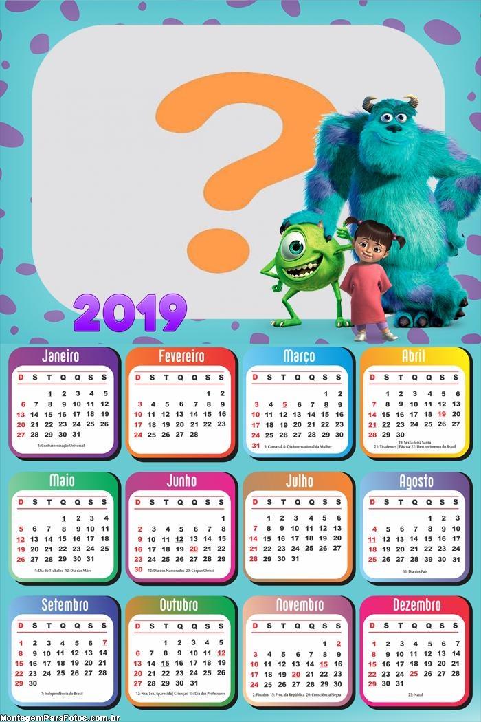 Calendário 2019 Monstros S A Personagens