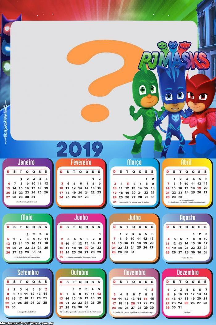 Calendário 2019 PJ Masks