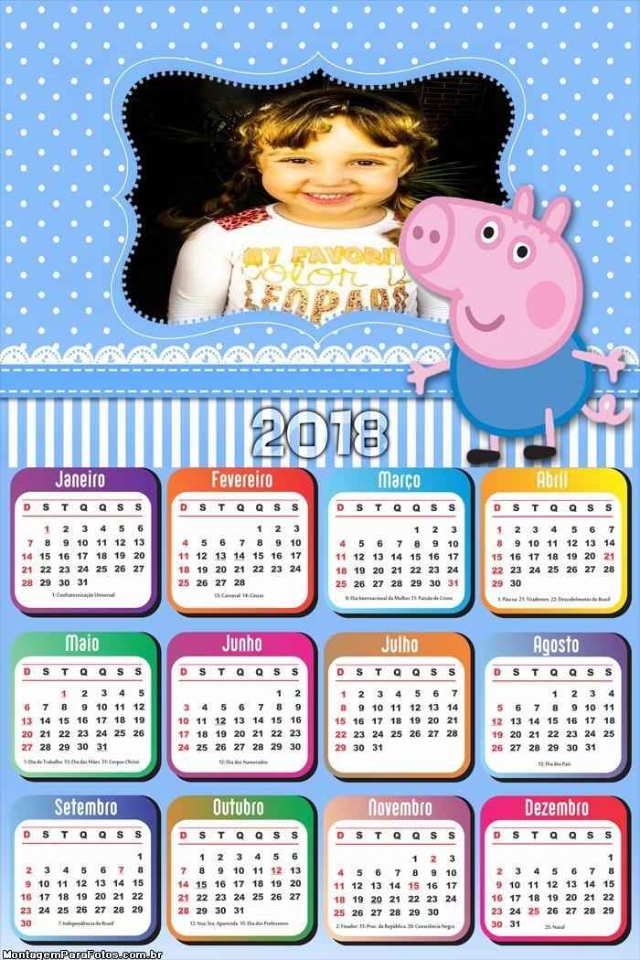 Calendário 2018 George da Peppa Pig