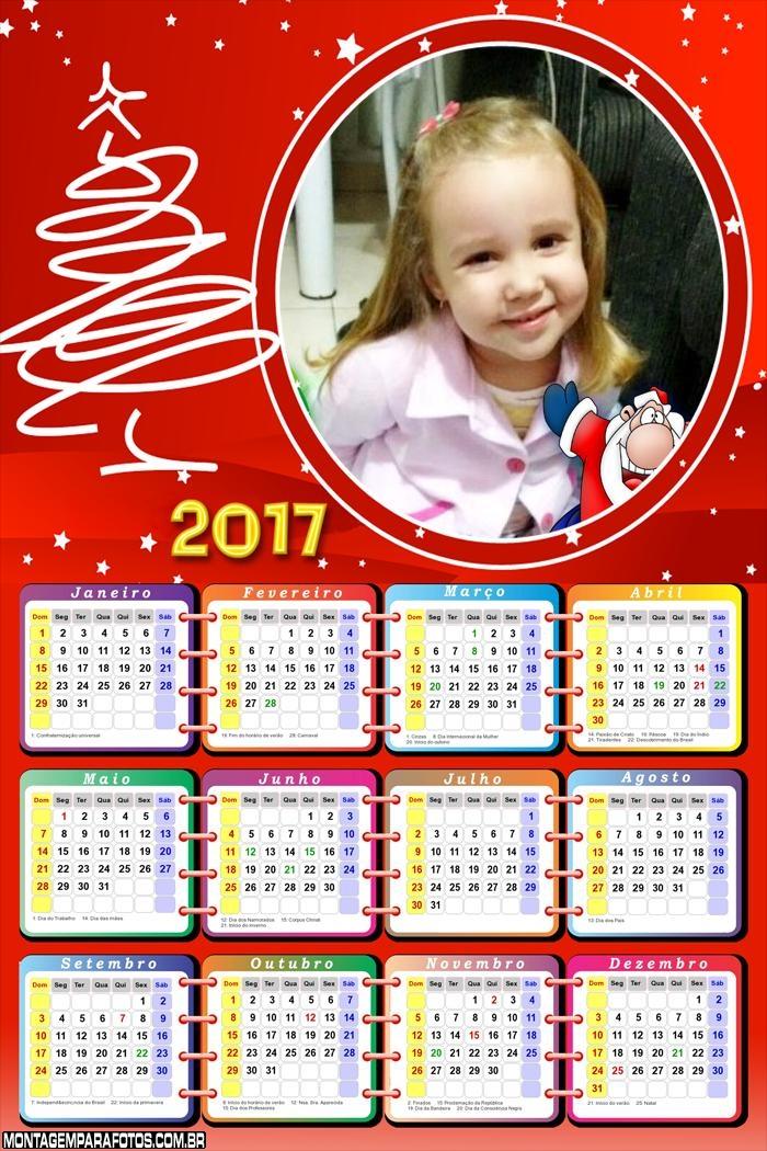 Calendário 2017 Natalino com Foto