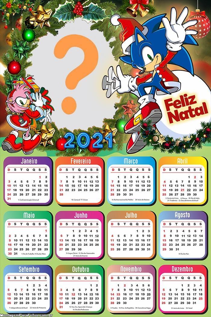 Calendário 2021 Sonic de Natal Foto Moldura