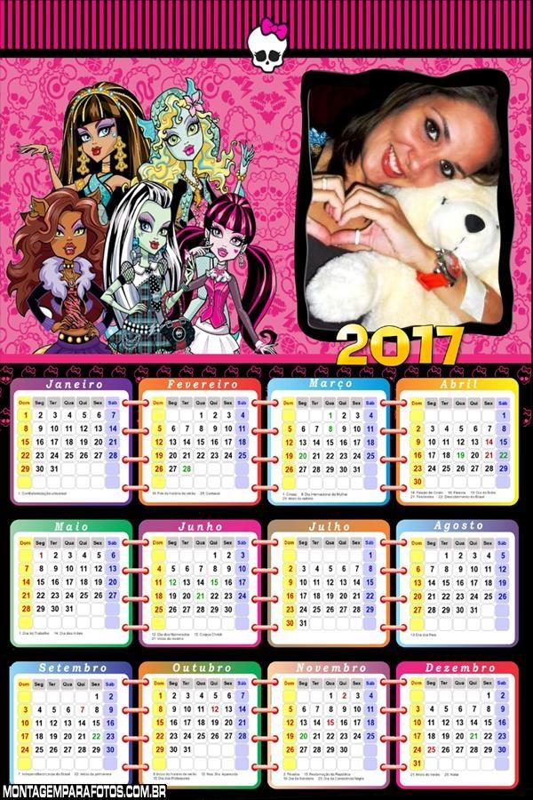 Calendário 2017 das Monster High