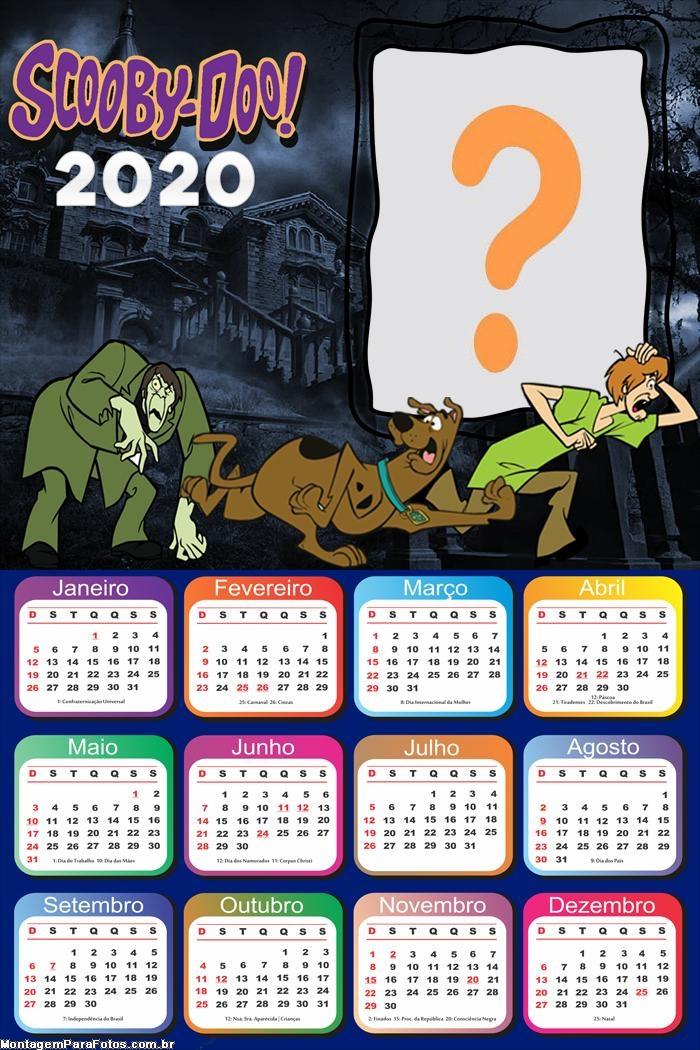 Calendário 2020 do Scooby Doo Moldura