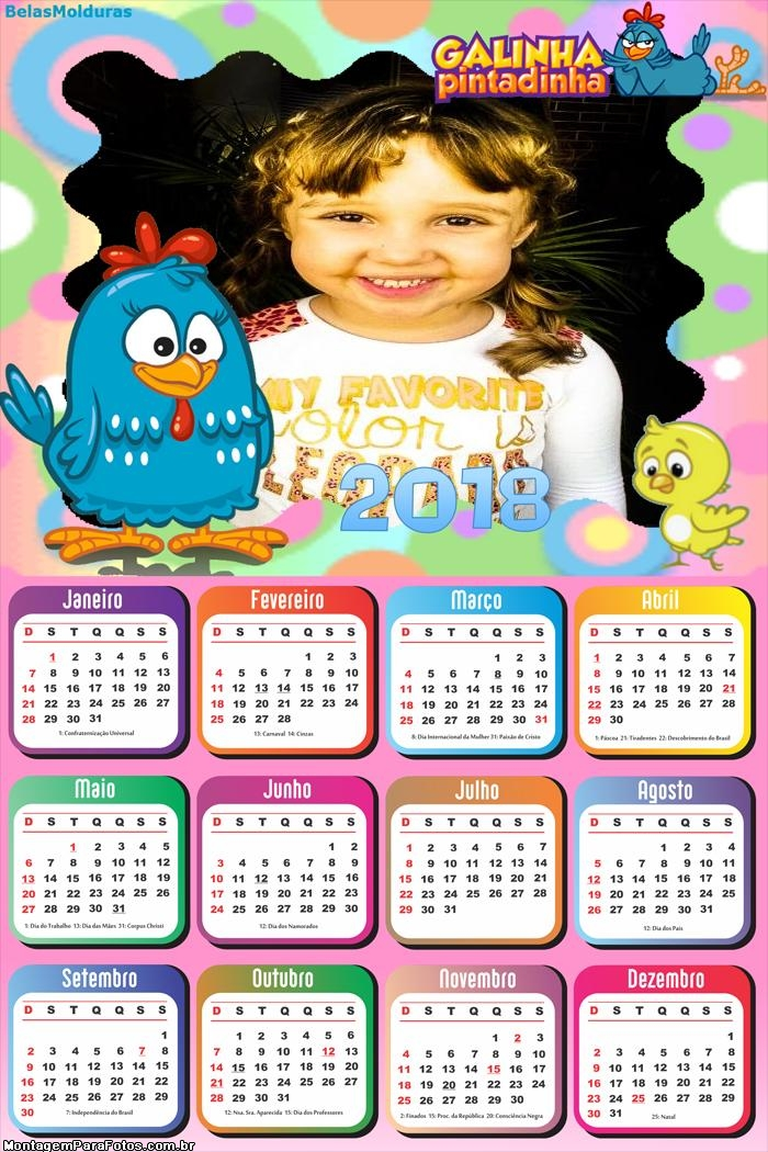 Calendário 2018 Galinha Pintadinha