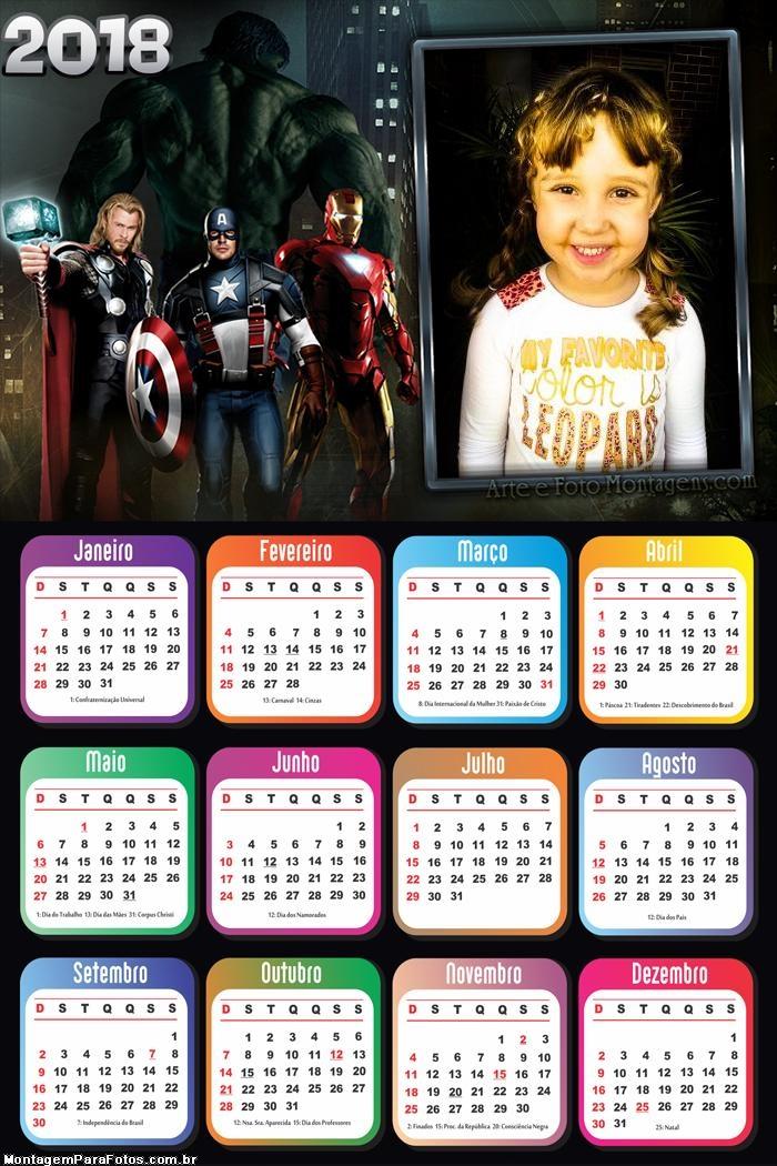 Calendário 2018 Vingadores Avengers