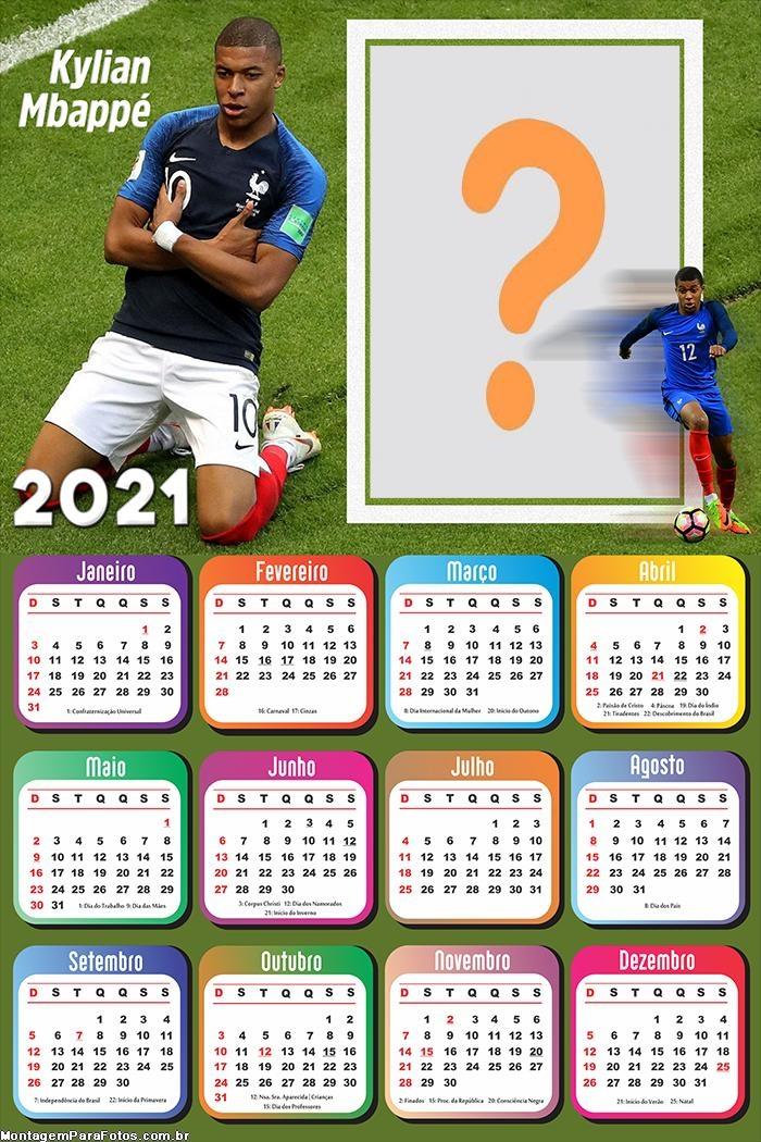 Calendário 2021 Kylian Mbappé PSG Jogador