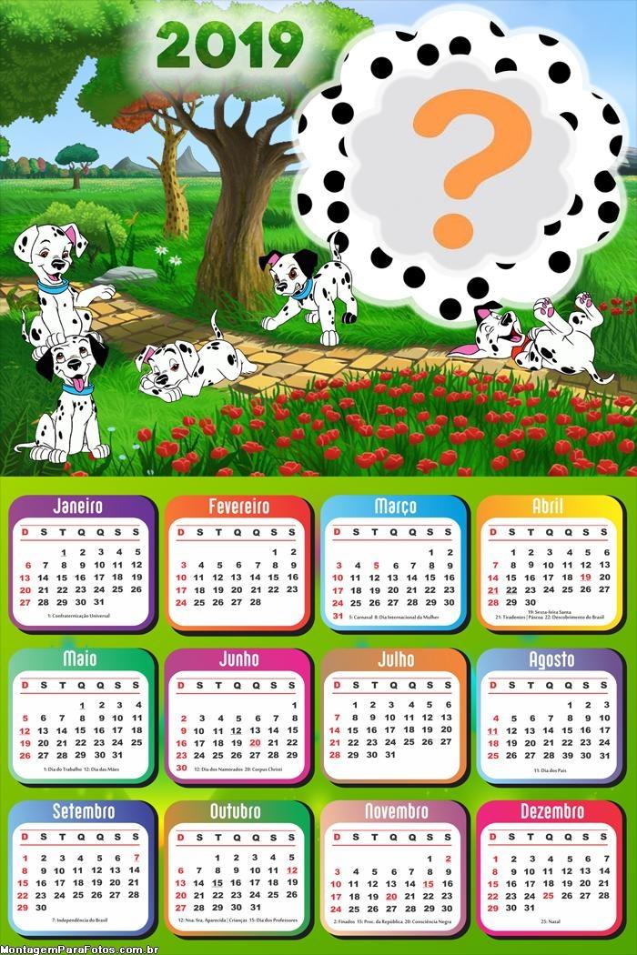 Calendário 2019 Desenho Dálmatas