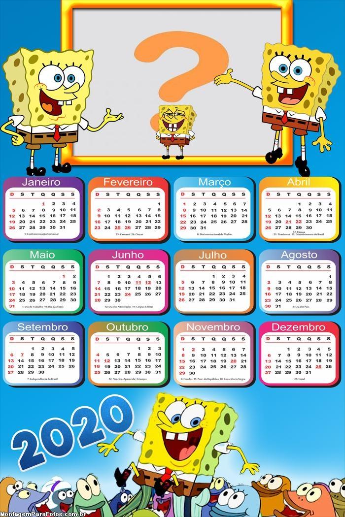 Calendário 2020 Bob Esponja Montar Foto Online