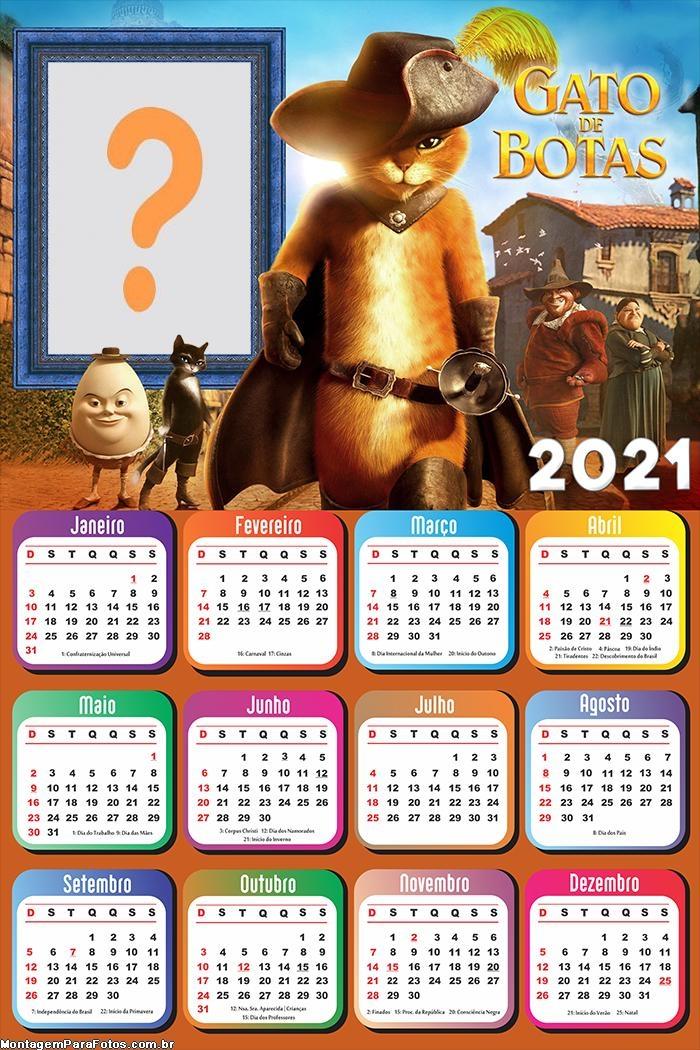Calendário 2021 Online do Gato de Botas