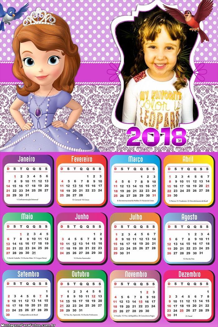 Calendário 2018 Sofia Vestido Roxo