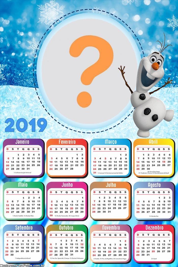 Calendário 2019 Olaf Frozen