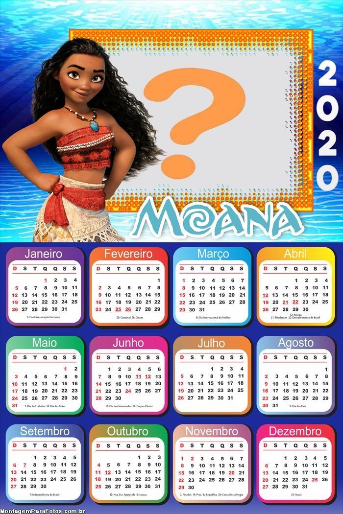 Colagem de Foto Calendário 2020 Moana