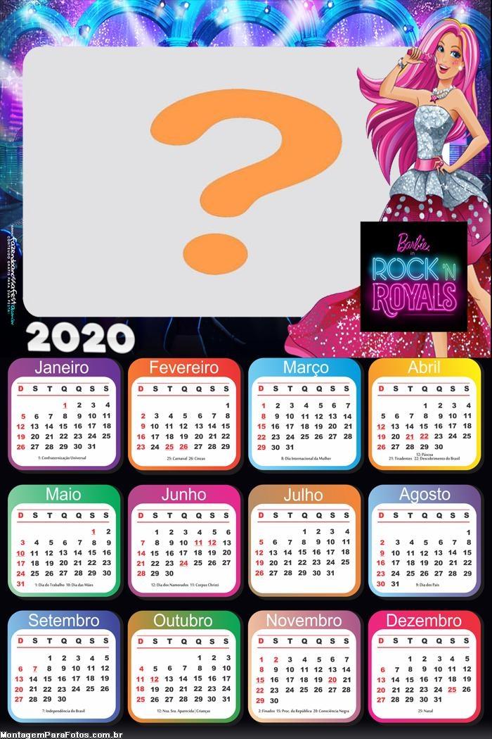 Calendário 2020 Barbie in Rock Royals
