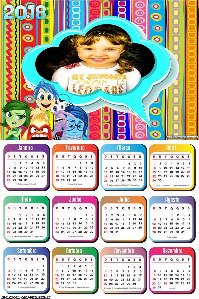 Calendário 2018 Divertidamente