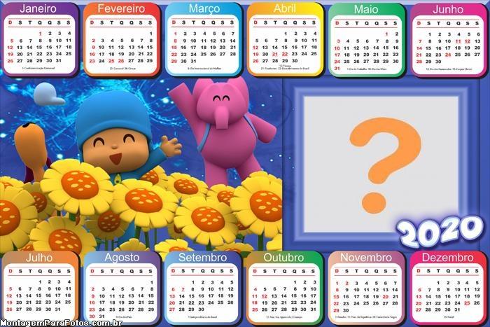 Calendário 2020 Horizontal Pocoyo