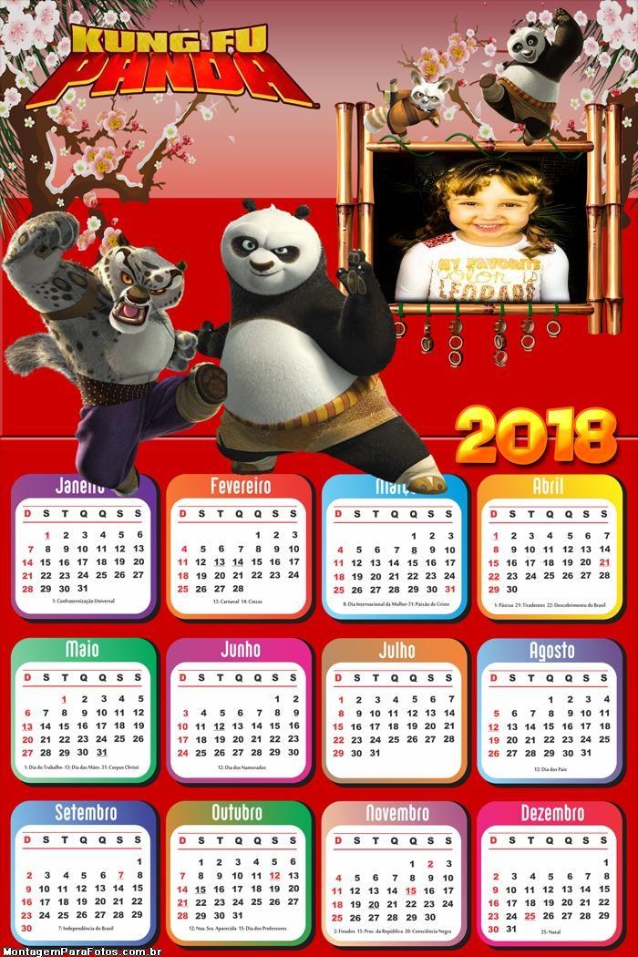 Calendário 2018 Kung Fu Panda