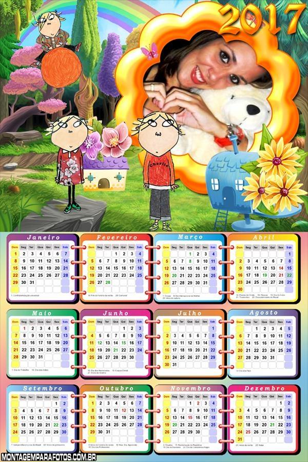 Calendário 2017 Charlie e Lola Desenho