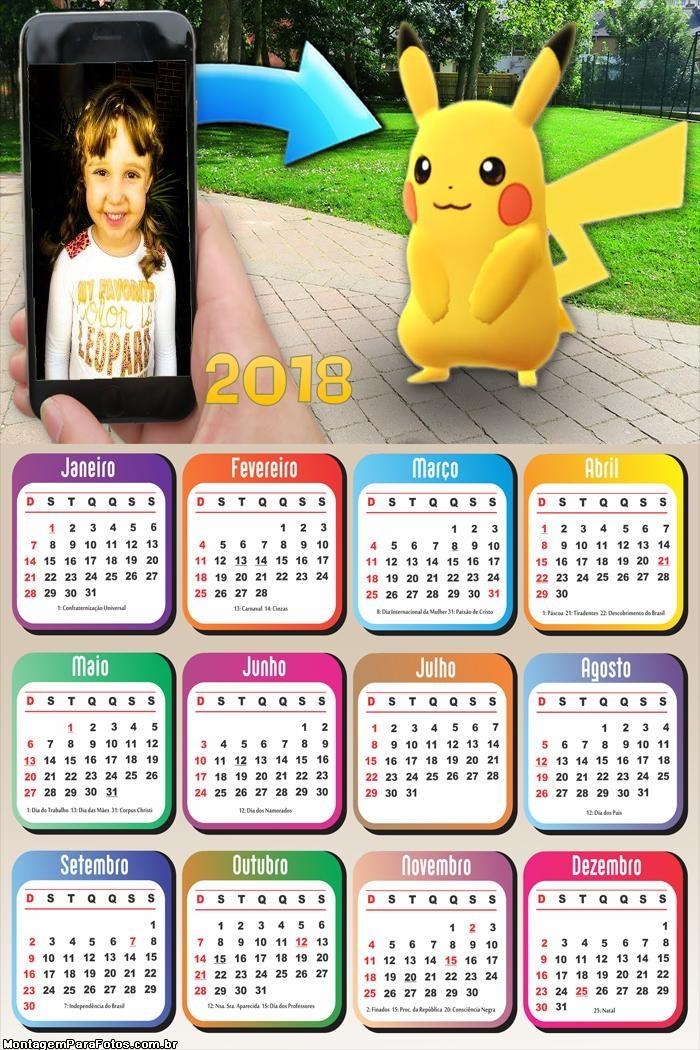 Calendário 2018 Capturando Picachu